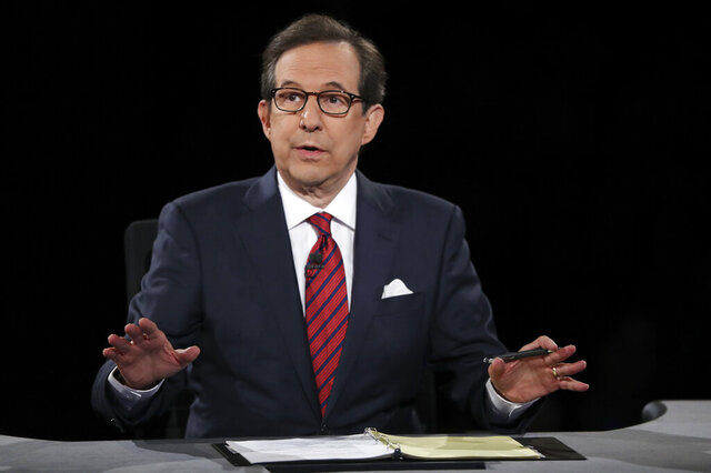 FILE - In this Oct. 19, 2016 file photo, moderator Chris Wallace guides the discussion during the presidential debate at UNLV in Las Vegas.  All eyes are on Fox's Chris Wallace as he prepares to moderate the first presidential debate. Wallace is the only journalist moderating one of the four debates this fall who has been there before: he was the onstage referee for the third meeting between President Donald Trump and Hillary Clinton.  (Joe Raedle/Pool via AP, File)