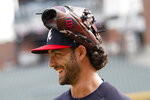 Atlanta Braves shortstop Dansby Swanson (7) talks his teammates during a baseball practice Tuesday, Oct. 8, 2019, in Atlanta. The Braves will face the St. Louis Cardinals in Game 5 of the NLCS Wednesday in Atlanta. (AP Photo/John Bazemore)