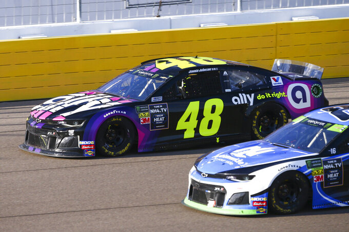 Jimmie Johnson (48) drives during a NASCAR Cup Series auto race at the Las Vegas Motor Speedway on Sunday, Sept. 15, 2019. (AP Photo/Chase Stevens)