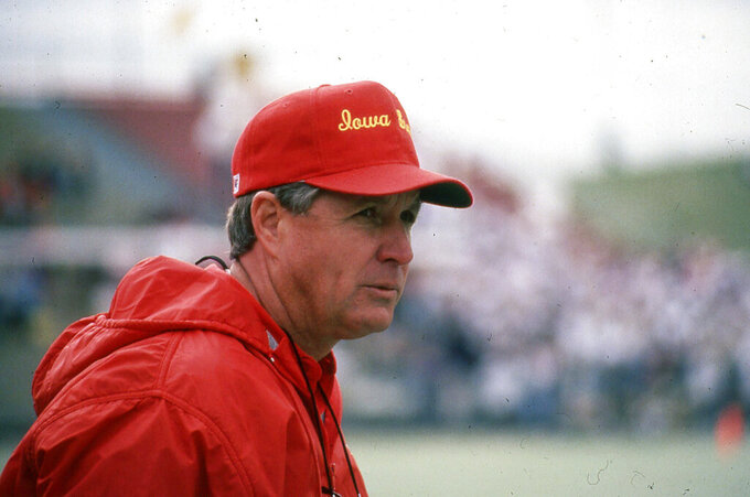 This undated photo provided by Iowa State Athletics Communications shows Iowa NCAA college football coach Jim Walden. .Walden, now 82, is retired in Idaho and watches every Iowa State game on television. He's been back to Ames for two games since Matt Campbell took over in 2016 but has never had a chance to talk to him. (Iowa State Athletics Communications  via AP)