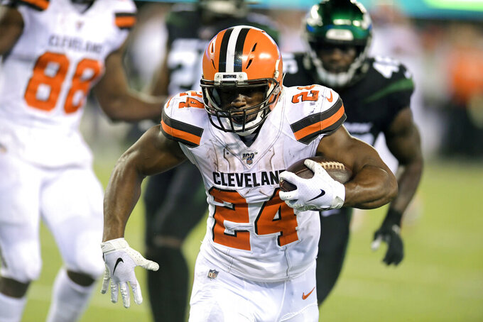 Cleveland Browns' Nick Chubb (24) rushes for a touchdown during the first half of an NFL football game against the New York Jets, Monday, Sept. 16, 2019, in East Rutherford, N.J. (AP Photo/Bill Kostroun)