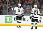 Los Angeles Kings' Anze Kopitar points to a teammate after scoring against the Boston Bruins during the second period of an NHL hockey game Saturday, Feb. 9, 2019, in Boston. (AP Photo/Winslow Townson)