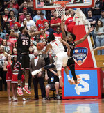 Radford guard Carlik Jones drives to the basket during the second half of the Big South conference NCAA basketball championship game against Gardner Webb, in Radford, Va., Sunday, March 10, 2019. (AP Photo/Lee Luther Jr.)