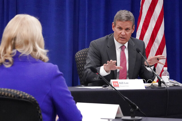 Gov. Bill Lee speaks during the Tennessee Higher Education Commission session of the state budget hearings Tuesday, Nov. 10, 2020, in Nashville, Tenn. Lee said Tuesday he's looking to include