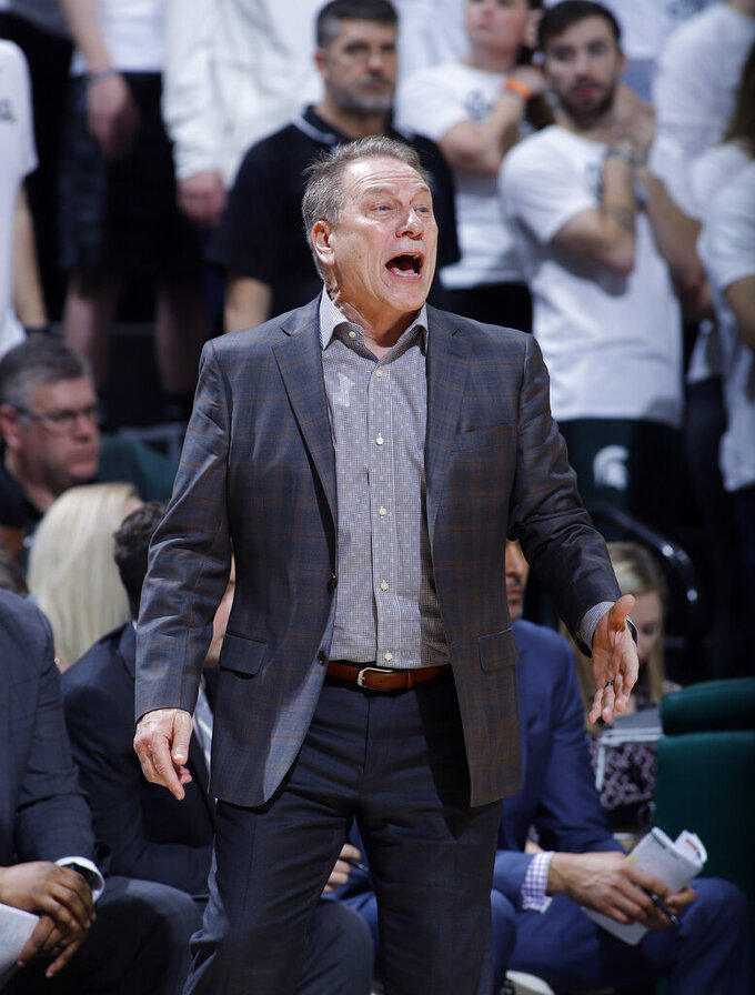 Michigan State coach Tom Izzo yells instructions against Indiana during the second half of an NCAA college basketball game, Saturday, Feb. 2, 2019, in East Lansing, Mich. Indiana won 79-75 in overtime. (AP Photo/Al Goldis)