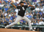 Chicago White Sox starter Ivan Nova delivers a pitch during the first inning of a baseball game against the Chicago Cubs Tuesday, June 18, 2019, at Wrigley Field in Chicago. (AP Photo/Paul Beaty)