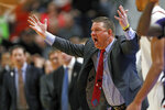 Texas Tech coach Chris Beard argues a call during the first half of an NCAA college basketball game against Kansas State Wednesday, Feb. 19, 2020, in Lubbock, Texas. (Brad Tollefson/Lubbock Avalanche-Journal via AP)