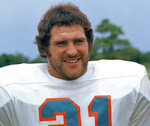FILE - In this 1973 file photo, Miami Dolphins running back Jim Kiick poses for a photo. Former running back Kiick, who helped the Dolphins achieve the NFL's only perfect season in 1972, has died at age 73. In recent years Kiick battled memory issues and lived in an assisted living home, and the team announced his death Saturday, June 20, 2020. (AP Photo/GB, File)