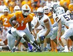 Tennessee wide receiver Marquez Callaway (1) runs for yardage in the first half of an NCAA college football game against UTEP, Saturday, Sept. 15, 2018, in Knoxville, Tenn. (AP Photo/Wade Payne)
