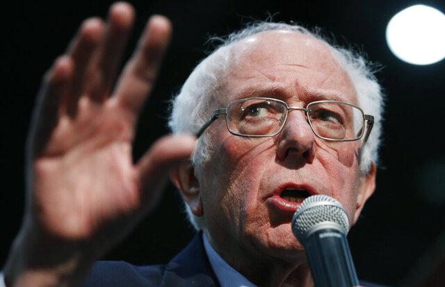 Democratic presidential candidate Sen. Bernie Sanders, I-Vt., speaks at a campaign rally Sunday, Jan. 26, 2020, in Sioux City, Iowa. (AP Photo/John Locher)
