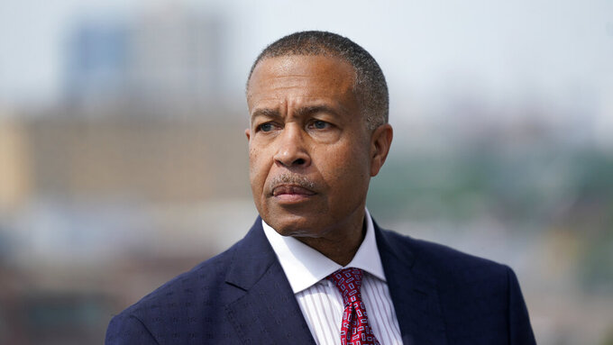 James Craig, a former Detroit Police Chief, announces he is a Republican candidate for Governor of Michigan in Detroit, Tuesday, Sept. 14, 2021. (AP Photo/Paul Sancya)