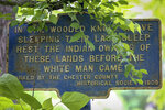 A historical marker rests next to a half acre plot owned by Carol McCloskey, Thursday, June 3, 2021, in Chester County, Pa. The area is known as Indian Knoll and designated by the county as a historical Native American burial site of the Lenape. McCloskey wants to donate the property, preferably to Native Americans, to ensure its preservation. So far she's found no takers for her half-acre lot, the only officially recognized Native American burial site in Chester County. (David Maialetti/The Philadelphia Inquirer via AP)
