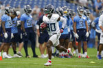 Tennessee Titans wide receiver Chester Rogers (80) runs a drill during NFL football training camp Monday, Aug. 16, 2021, in Nashville, Tenn. (AP Photo/Mark Humphrey)