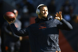 Chicago Bears quarterback Mitchell Trubisky warms up before an NFL football game against the Los Angeles Chargers, Sunday, Oct. 27, 2019, in Chicago. (AP Photo/Paul Beaty)