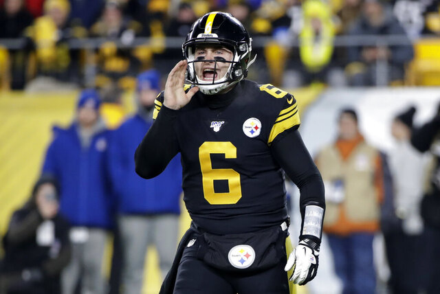 Pittsburgh Steelers quarterback Devlin Hodges calls signals during the first half of an NFL football game against the Buffalo Bills in Pittsburgh, Sunday, Dec. 15, 2019. (AP Photo/Don Wright)
