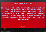 "An emergency alert issued by the Canadian province of Ontario is shown on a television Sunday, Jan. 12, 2020, in Toronto, Canada. The Canadian province of Ontario sent an alert Sunday reporting an unspecified ""incident"" at a nuclear plant - only to later report the message was sent in error.  (AP Photo/Robert Gillies)"