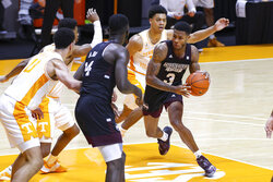 Mississippi State guard D.J. Stewart Jr. (3) moves the ball against Tennessee during an NCAA college basketball game Tuesday, Jan. 26, 2021, in Knoxville, Tenn., in Knoxville, Tenn. (Randy Sartin/Pool Photo via AP)