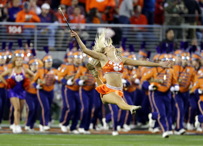 The Clemson band performs before the NCAA college football playoff championship game against Alabama, Monday, Jan. 7, 2019, in Santa Clara, Calif. (AP Photo/David J. Phillip)
