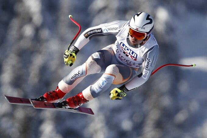 Norway's Aleksander Aamodt Kilde takes a jump as he speeds down the course during an alpine ski, men's World Cup downhill, in Kvitfjell, Norway, Saturday, March 7, 2020. (AP Photo/Gabriele Facciotti)
