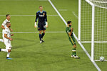 Portland Timbers' Diego Valeri celebrates his penalty kick for a goal against the LA Galaxy during the first half of an MLS soccer match Wednesday, Oct. 28, 2020, in Portland, Ore. (Sean Meagher/The Oregonian via AP)
