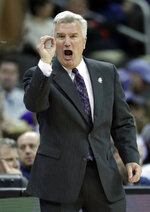 Kansas State head coach Bruce Weber calls a play during the first half of an NCAA college basketball game against Iowa State in the semifinals of the Big 12 Conference tournament in Kansas City, Mo., Friday, March 15, 2019. (AP Photo/Orlin Wagner)