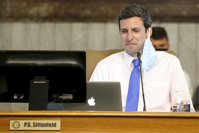 In this June 24, 2020, photo is Cincinnati City Council member P.G. Sittenfeld at Cincinnati City Hall. Sittenfeld who has been planning to run for mayor has been indicted on federal corruption charges. An indictment Thursday, Nov. 19, shows that Democrat Sittenfeld faces six federal counts related to bribery and extortion. He pleaded not guilty before a federal magistrate and was released with restrictions (Kareem Elgazzar/The Cincinnati Enquirer via AP)