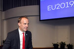 Britain's Foreign Secretary and First Secretary of State Dominic Raab, left, attends the Informal Meeting of EU Foreign Ministers in Helsinki, Finland, Thursday Aug. 29, 2019. The topics to be discussed at the meeting include the wider Middle East, the Arctic region, hybrid threats and fires raging in the Amazon rainforest. (Markku Ulander/Lehtikuva via AP)