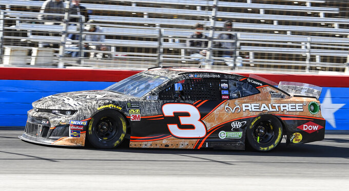 Driver Austin Dillon races down the front stretch during a NASCAR Cup auto race at Texas Motor Speedway, Sunday, March 31, 2019, in Fort Worth, Texas. (AP Photo/Larry Papke)