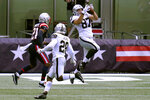 Las Vegas Raiders tight end Foster Moreau (87) catches a pass for a touchdown in the first half of an NFL football game against the New England Patriots, Sunday, Sept. 27, 2020, in Foxborough, Mass. (AP Photo/Charles Krupa)