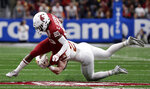 Washington State wide receiver Calvin Jackson Jr. (85) is hit by Iowa State linebacker Mike Rose (23) after making a catch during the the first half of the Alamo Bowl NCAA college football game Friday, Dec. 28, 2018, in San Antonio. (AP Photo/Eric Gay)