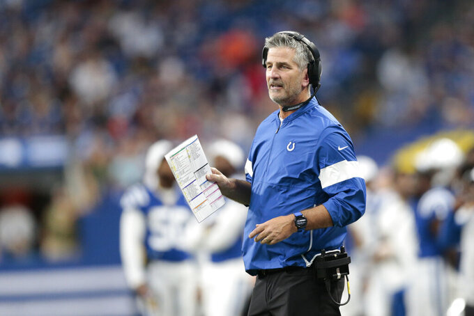 Indianapolis Colts coach Frank Reich questions a call during the first half of the team's NFL preseason football game against the Chicago Bears, Saturday, Aug. 24, 2019, in Indianapolis. (AP Photo/AJ Mast)