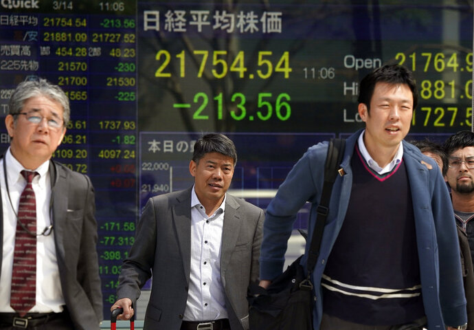 People walk in front of an electronic stock indicator of a securities firm in Tokyo, Wednesday, March 14, 2018. Asian shares fell Wednesday, taking their cue from a dip on Wall Street after the abrupt departure of U.S. Secretary of State Rex Tillerson. Concern over tariff hikes announced by President Donald Trump was weighing on sentiment.  (AP Photo/Shizuo Kambayashi)