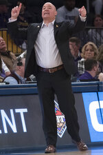 Lipscomb head coach Casey Alexander react during the first half of a semifinal college basketball game in the National Invitational Tournament against Wichita State , Tuesday, April 2, 2019, at Madison Square Garden in New York. (AP Photo/Mary Altaffer)