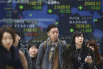 People walk by an electronic stock board of a securities firm in Tokyo, Wednesday, March 6, 2019. Asian markets were mostly higher Wednesday after a listless day of modest losses on Wall Street. (AP Photo/Koji Sasahara)