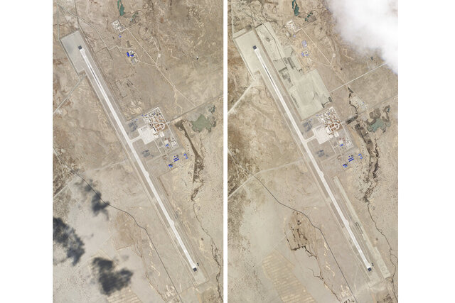 This combination of two satellite photos of the Ngari Günsa civil-military airport base taken on April 1, left, and May 17, 2020, near the border with India in far western region of Tibet in China show development around the airport. Tensions along the China-India border high in the Himalayas have flared again in recent weeks. Indian officials say the latest row began in early May, when Chinese soldiers entered the Indian-controlled territory of Ladakh at three different points, erecting tents and guard posts. China has sought to downplay the confrontation while providing little information. (Planet Labs via AP)