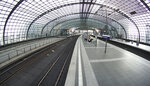 Traveller walk on an empty station platform at the main station in Berlin, Germany, Thursday, Sept. 2, 2021. A nationwide, five-day train strike has brought big parts of the German railway and commuter system to a standstill. (AP Photo/Michael Sohn)