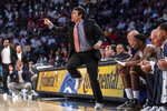 Georgia Tech head coach Josh Pastner calls in a play in the second half of an NCAA college basketball game against North Carolina State Saturday, Jan. 25, 2020, in Atlanta. Georgia Tech won 64-58. (AP Photo/Danny Karnik)