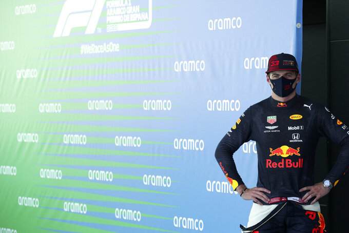 Red Bull driver Max Verstappen of the Netherlands looks on after the qualifying prior to the Formula One Grand Prix at the Barcelona Catalunya racetrack in Montmelo, Spain, Saturday, Aug. 15, 2020. (Albert Gea, Pool via AP)