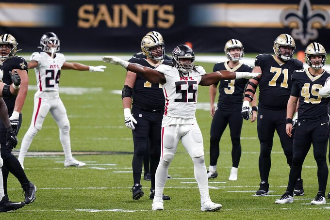 Atlanta Falcons defensive end Steven Means (55) and cornerback A.J. Terrell (24) react after New Orleans Saints kicker Wil Lutz (3) misses a field goal in the first half of an NFL football game in New Orleans, Sunday, Nov. 22, 2020. (AP Photo/Butch Dill)