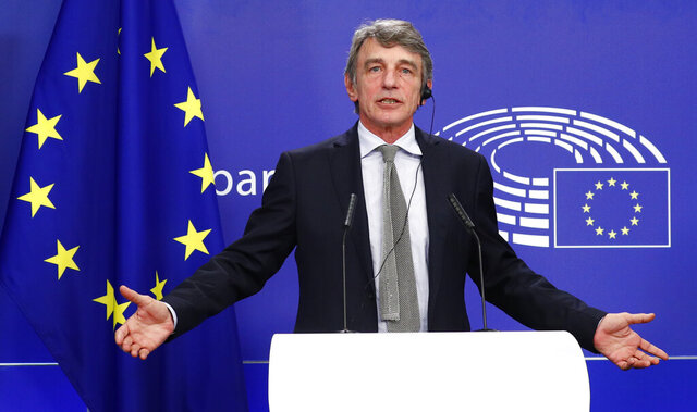 European Parliament President David Sassoli talks during a news conference following the recovery financial plan deal at the EU leaders summit, at the European Parliament in Brussels, Wednesday, July 22, 2020. After four days and nights of wrangling, exhausted European Union leaders finally clinched a deal on an unprecedented 1.8 trillion-euro (dollars 2.1 trillion) budget and coronavirus recovery fund early Tuesday, after one of their longest summits ever. (Francois Lenoir, Pool Photo via AP)