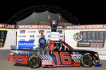 Austin Hill poses in Victory Lane after winning the NASCAR Truck Series auto race at Las Vegas Motor Speedway on Friday, Sept. 25, 2020, in Las Vegas. (Ellen Schmidt/Las Vegas Review-Journal via AP)