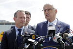 U.S. Rep. Bill Pascrell (NJ-9), right, stands with Rep. Josh Gottheimer (NJ-5), left, and and Fort Lee Mayor Mark Sokolich, back, during a news conference near the George Washington Bridge talking about the congressmen's plan to fight back against New York City's proposed congestion tax on New Jersey commuters, Wednesday, April 17, 2019, in Fort Lee, N.J. The congressmen announced legislation they say will ensure New Jersey motorists, who already pay up to $15 for bridge or tunnel tolls, won't be charged twice. New York's legislature approved a conceptual plan this month. that will allocate revenue to fix the city's mass transit system. New York would become the first American city to use so-called congestion pricing to reduce gridlock and fund mass transit improvements. (AP Photo/Julio Cortez)