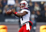 Arizona quarterback Khalil Tate throws a pass in the second half of an NCAA college football game against Colorado Saturday, Oct. 5, 2019, in Boulder, Colo. Arizona won 35-30. (AP Photo/David Zalubowski)