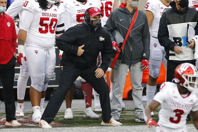 Indiana head coach Tom Allen watches his team play against Ohio State during an NCAA college football game Saturday, Nov. 21, 2020, in Columbus, Ohio. (AP Photo/Jay LaPrete)