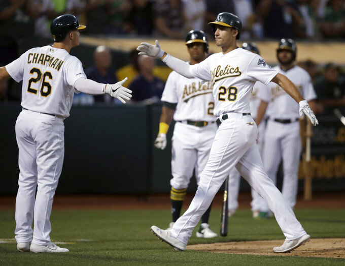 Oakland Athletics' Matt Olson, right, celebrates with Matt Chapman (26) after hitting a three-run home run off Houston Astros' Aaron Sanchez during the fourth inning of a baseball game Thursday, Aug. 15, 2019, in Oakland, Calif. (AP Photo/Ben Margot)