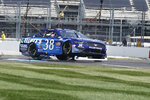 Anthony Alfredo drives during a NASCAR Series auto race at Indianapolis Motor Speedway, Sunday, Aug. 15, 2021, in Indianapolis. (AP Photo/Rob Baker)