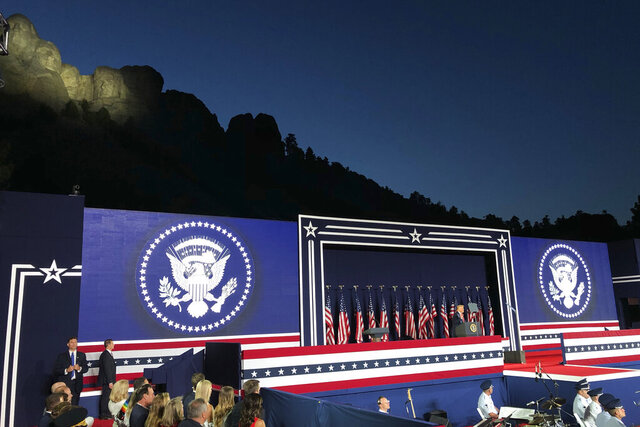 President Donald Trump speaks at Mount Rushmore National Monument Friday, July 3, 2020, in Keystone, S.D. (AP Photo/Alex Brandon)