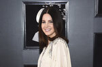 """FILE - This Jan. 28, 2018 file photo shows Lana Del Rey at the 60th annual Grammy Awards in New York. Del Ray is a multiple Grammy nominee this year with nods for Album of the year for and song of the year for """"Someone You Loved,"""" with Jack Antonoff. (Photo by Evan Agostini/Invision/AP, File)"""