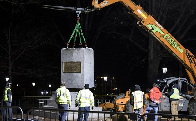 FILE - In this Jan. 15, 2019, file photo, the first and largest piece of the remnants of a Confederate statue known as
