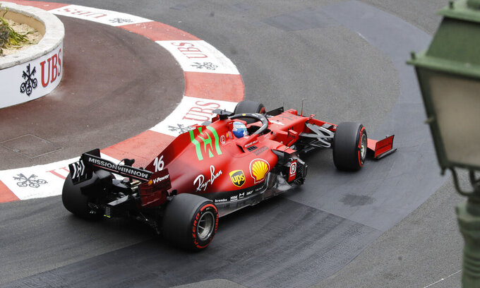 Ferrari driver Charles Leclerc of Monaco steers his car during the third free practice for Sunday's Formula One race, at the Monaco racetrack, in Monaco, Saturday, May 22, 2021. (AP Photo/Luca Bruno)